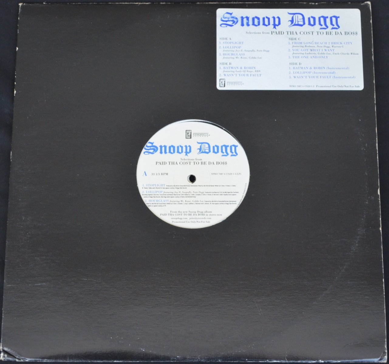 SNOOP DOGG ‎/ SELECTIONS FROM PAID THA COST TO BE DA BO$$ - PROMO LP SAMPLER (2LP)