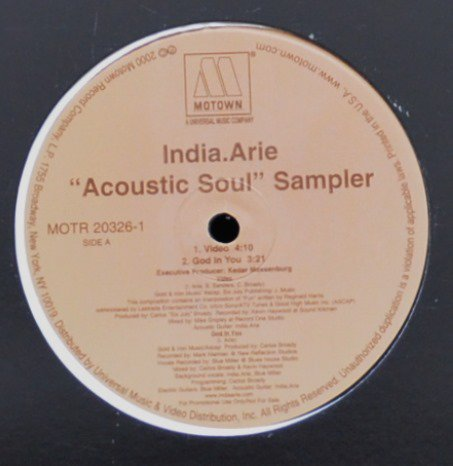 INDIA.ARIE ‎/ ACOUSTIC SOUL SAMPLER (12