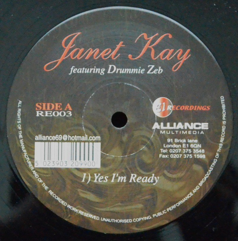 JANET KAY FEATURING DRUMMIE ZEB ‎/ YES I'M READY (12
