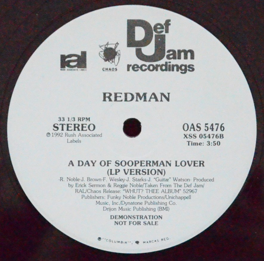 REDMAN ‎/ A DAY OF SOOPERMAN LOVER (12