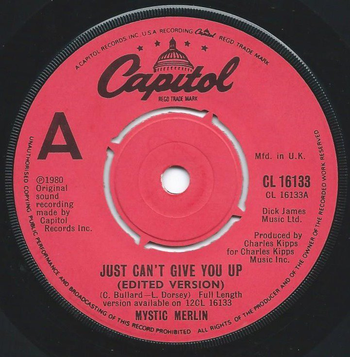 MYSTIC MERLIN ‎/ JUST CAN'T GIVE YOU UP / BURNED TO LEARN (7