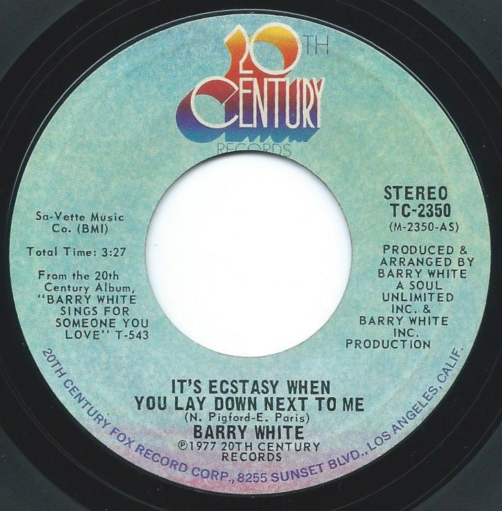 BARRY WHITE / IT'S ECSTASY WHEN YOU LAY DOWN NEXT TO ME (7