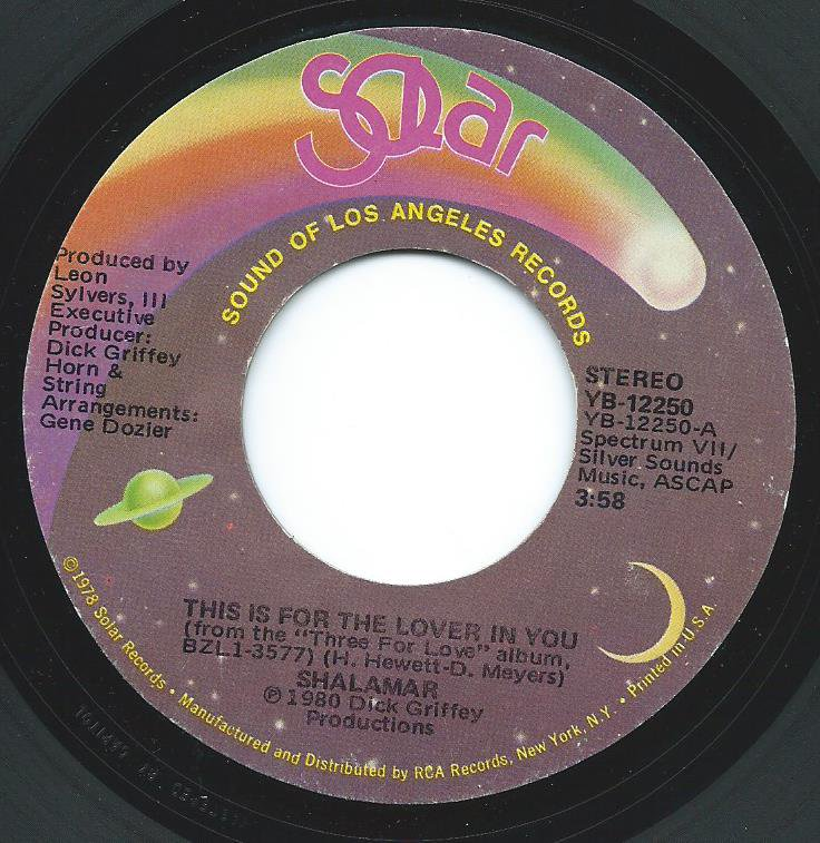 SHALAMAR / THIS IS FOR THE LOVER IN YOU (7