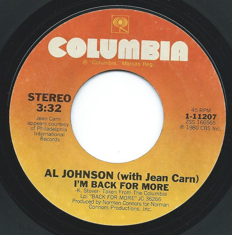 AL JOHNSON / I'M BACK FOR MORE (WITH JEAN CARN) / YOU ARE MY PERSONAL ANGEL (7