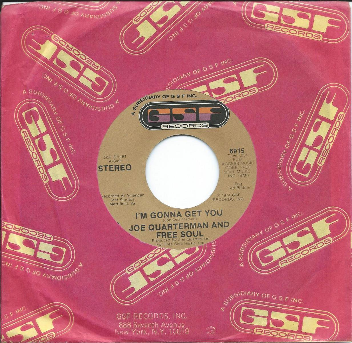 JOE QUARTERMAN AND FREE SOUL / I'M GONNA GET YOU (7