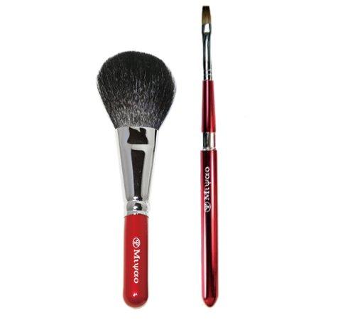 熊野化粧筆メイクブラシ2点セット(パウダー&ドーム型携帯リップブラシ) BR-4【ブライダル用】