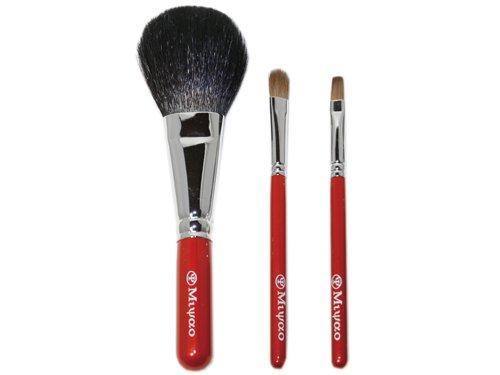 熊野化粧筆メイクブラシ3点セット(パウダー、アイシャドウ、リップブラシ) BR-6【送料無料】【ブライダル…