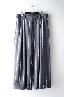 TAAKK(18SS)/ターク/EMBROIDERY STRIPE WIDE PANTS gray
