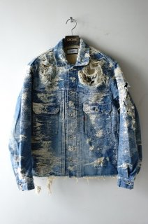 TAAKK(18AW)/ターク/DENIM JACQUARD JACKET destroy