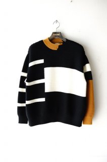 CULLNI(19AW)/クルニ/Switching Knit Pullover bk