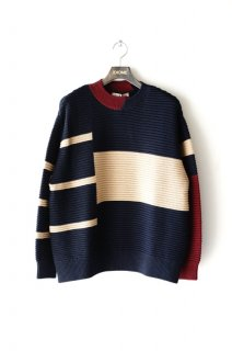 CULLNI(19AW)/クルニ/Switching Knit Pullover nv