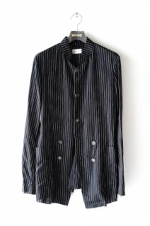 BED J.W. FORD(20SS)/ベッドフォード/stand collar stripe jacket bk