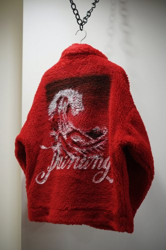 HAND-PAINTED RECYCLE FUR JACKET red<img class='new_mark_img2' src='https://img.shop-pro.jp/img/new/icons14.gif' style='border:none;display:inline;margin:0px;padding:0px;width:auto;' />