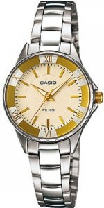 Casio(カシオ)Women's LTP1360D-9AV Silver Stainless-Steel Quartz with Yellow Dial