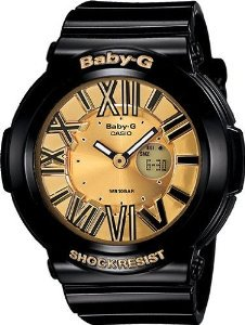 Casio(カシオ)Ladies Baby-G Neon Illuminator Gold Dial with Gloss Black Resin Strap