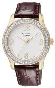 Citizen(シチズン)Quartz Swarovski Crystal Leather Strap Pearl Dial Women's EL3012-00A,,,