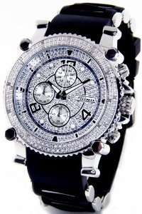 JoJino(ジョジーノ)Real Diamond by Joe Rodeo Chronograph Mens Silver Case Black Rubber Band MJ-1130,,