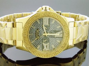 King Master(キングマスター)47mm Round 12 Diamonds Yellow Gold Tone Case,