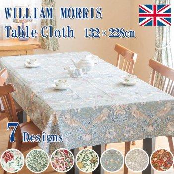 MorrisDesign at Oxford Time モリスデザインオックスフォードタイム テーブルクロス(長方形) Strawberry Thief Crimson TBCH75RL