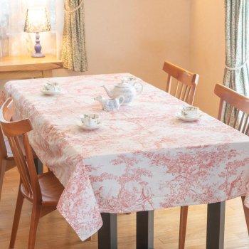 トワル・ド・ジュイ ジュイの更紗 西洋更紗 テーブルクロス(長方形)Pink Toile TBCH58R (縦132cm × 横178cm)
