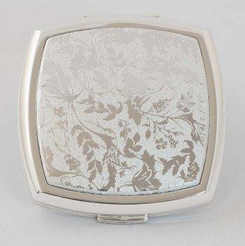 ストラトン デュアルミラースクエア・コンパクトミラー Lorelei Silver STDM1132CS【セカンド】  【直径6.5cm、厚1.7cm】