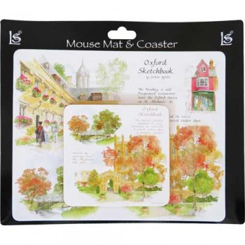 Little Snoring Mouse Mat & Coaster Set Botanic Garden MCS002