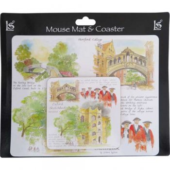 Little Snoring Mouse Mat & Coaster Set Botanic Garden MCS003