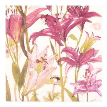 CRAVEN DUNNILL JACKFIELD  Ceramic Pot Stand  セラミックポットスタンド Pink lilies 英国製