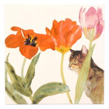 CRAVEN DUNNILL JACKFIELD  Ceramic Pot Stand  セラミックポットスタンド Cat amongst Tulips 英国製