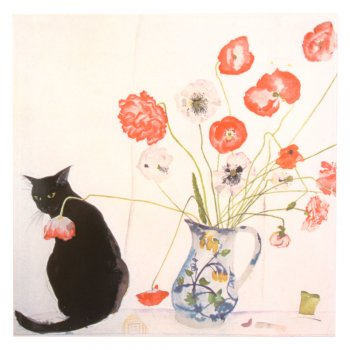 CRAVEN DUNNILL JACKFIELD  Ceramic Pot Stand  セラミックポットスタンド Cat & Poppies 英国製