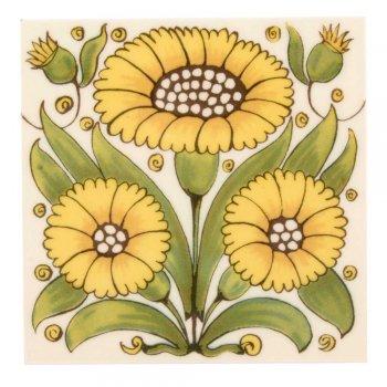 CRAVEN DUNNILL JACKFIELD  Ceramic Pot Stand  セラミックポットスタンド Yellow Sunflower 英国製