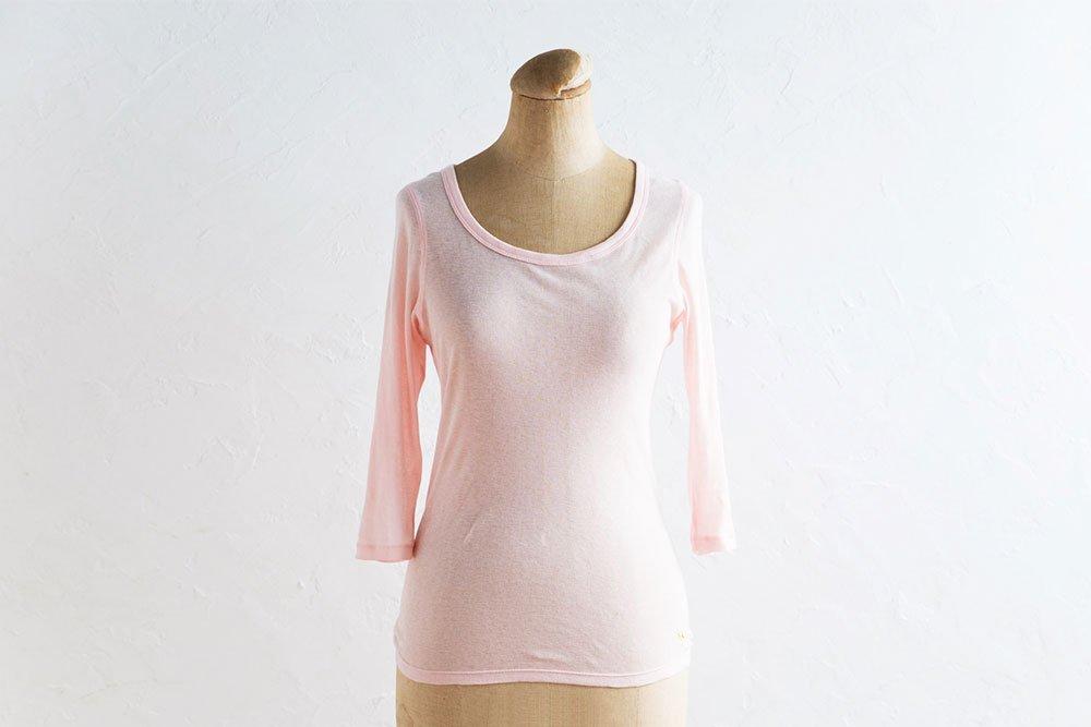 女神のあったかインナーコットンカシミヤ七分袖 ピンク