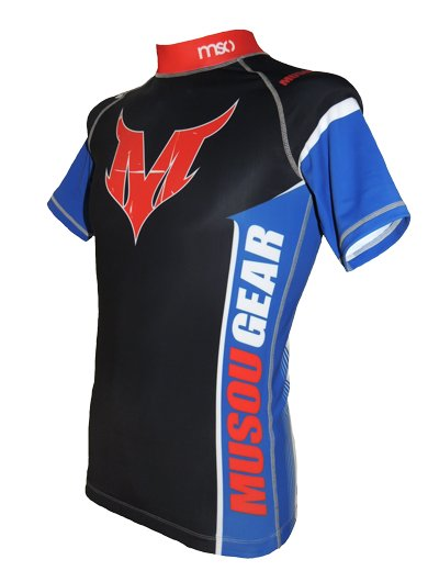 Musou gear short sleeve Rash guard #03 Black/Blue