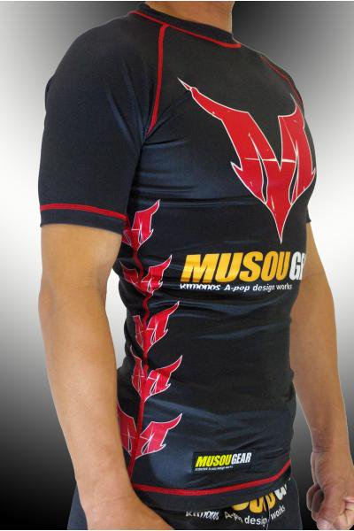 Musou gear short sleeve Rash guard #01 Black