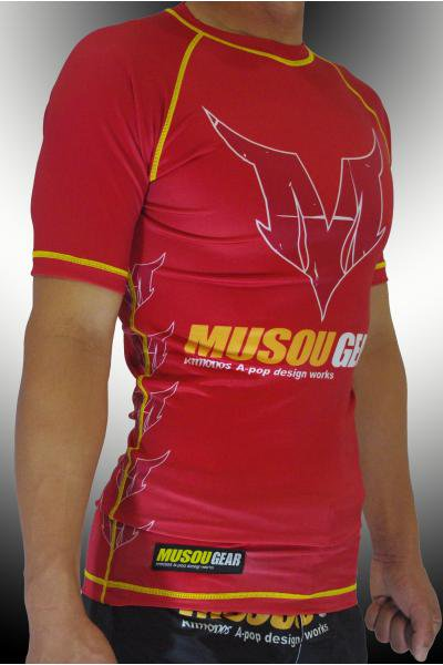 Musou gear short sleeve Rash guard #01 Red