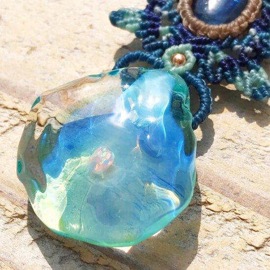 海のカケラ×カイヤナイトマクラメペンダント