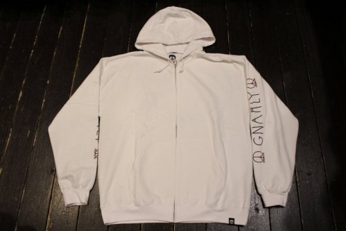 GNARLY LOGO SLEEVE ZIP WHITE