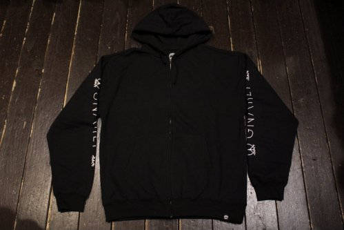 GNARLY LOGO SLEEVE ZIP BLACK