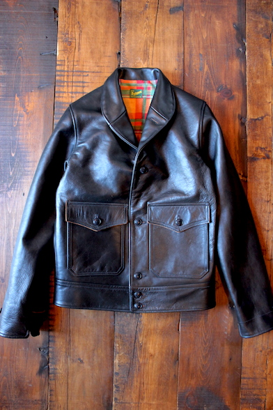 <img class='new_mark_img1' src='//img.shop-pro.jp/img/new/icons32.gif' style='border:none;display:inline;margin:0px;padding:0px;width:auto;' />  Delinquent Bros   HORSEHIDE SHAWL COLLAR LEATHER JACKET BLACK