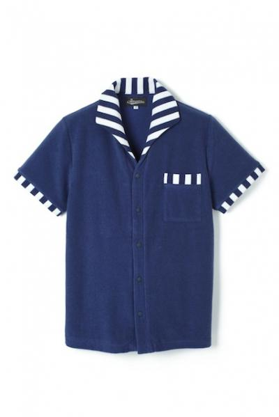 <img class='new_mark_img1' src='//img.shop-pro.jp/img/new/icons42.gif' style='border:none;display:inline;margin:0px;padding:0px;width:auto;' />Attractions Lot.327 ITALIAN COLLAR SHORT SLEEVE PILE SHIRT NAVY BORDER 30%OFF