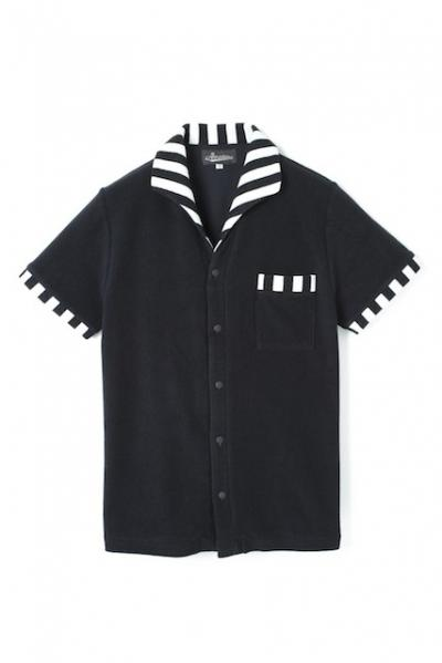 <img class='new_mark_img1' src='//img.shop-pro.jp/img/new/icons42.gif' style='border:none;display:inline;margin:0px;padding:0px;width:auto;' />Attractions Lot.327 ITALIAN COLLAR SHORT SLEEVE PILE SHIRT BLACK BORDER 30% OFF!!