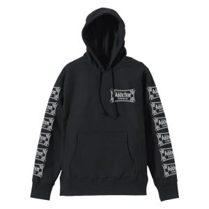 <img class='new_mark_img1' src='//img.shop-pro.jp/img/new/icons28.gif' style='border:none;display:inline;margin:0px;padding:0px;width:auto;' />Addiction kustom the life CROSS HOODIE BK/アイアンクロス/プルオーバーパーカー/スエット/フロント&袖プリント/ブラック
