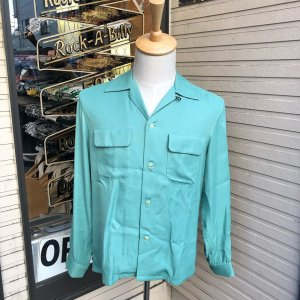 <img class='new_mark_img1' src='//img.shop-pro.jp/img/new/icons14.gif' style='border:none;display:inline;margin:0px;padding:0px;width:auto;' />The Groovin High New Vintage Box Rayon Shirt A138 Peppermint Green/グルーヴィン・ハイ/レーヨンオープンカラー長袖シャツ/日本製
