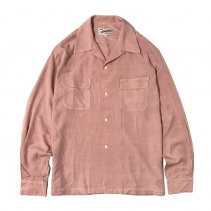 <img class='new_mark_img1' src='https://img.shop-pro.jp/img/new/icons14.gif' style='border:none;display:inline;margin:0px;padding:0px;width:auto;' />Addiction KUSTOM THE LIFE RAYON OPEN COLLAR SHIRTS PINK  made in Japan/アディクション/レーヨンオープンカラー長袖シャツ /日本製