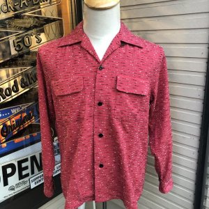 THE GROOVIN HIGH 1950s style Atomic Stripe L/S Shirt/RED/グルービンハイ/長袖ストライプシャツ/日本製