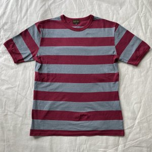 <img class='new_mark_img1' src='https://img.shop-pro.jp/img/new/icons14.gif' style='border:none;display:inline;margin:0px;padding:0px;width:auto;' /> The Groovin High Vintage Style Ringer Cotton Stripe T-Shirt Wine/Gray