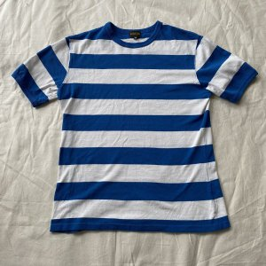 <img class='new_mark_img1' src='https://img.shop-pro.jp/img/new/icons14.gif' style='border:none;display:inline;margin:0px;padding:0px;width:auto;' /> The Groovin High Vintage Style Ringer Cotton Stripe T-Shirt Blue/White