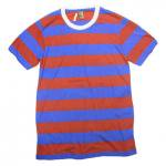 ALTERNATIVE(オルタナティブ) Eco Jersey Ugly Stripe Short Sleeve T-Shirt(ROYAL/RED)