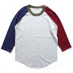 WALLA WALLA(ワラワラ) 3/4 BASEBALL TEE PANELED (H.GREY/SEA BLUE/BURGANDY)<img class='new_mark_img2' src='//img.shop-pro.jp/img/new/icons49.gif' style='border:none;display:inline;margin:0px;padding:0px;width:auto;' />