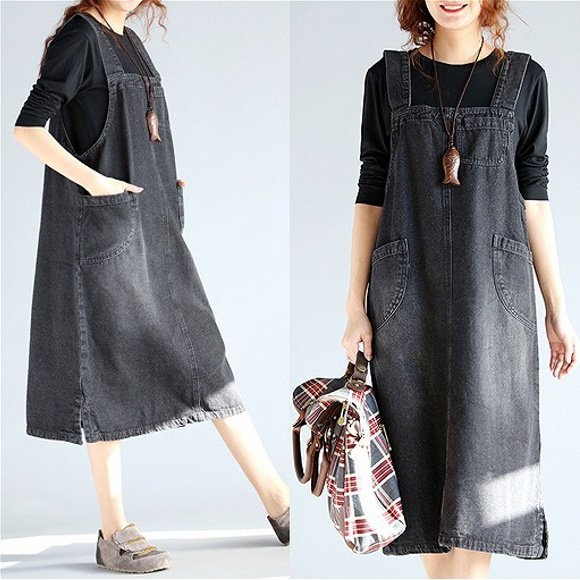 大きいサイズ☆ブラックデニム サロペットスカート